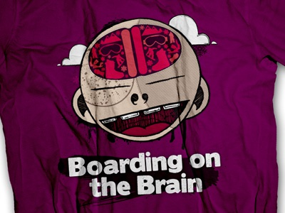 Neuro Shirt illustration pen ink paint illustrator snowboarding boarding t-shirt brain purple