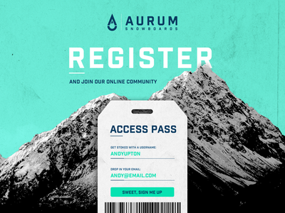 001 Daily UI - Sign Up mountain lift pass aurum snowboarding snowboard register sign up ux design ui design web design ui daily ui