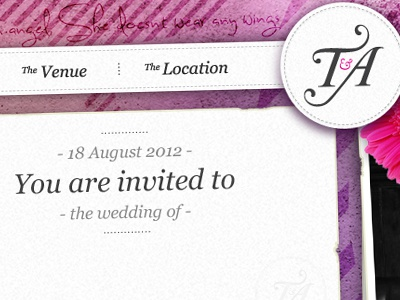 Wedding Website Sneak Peek wedding website navigation photoshop textures