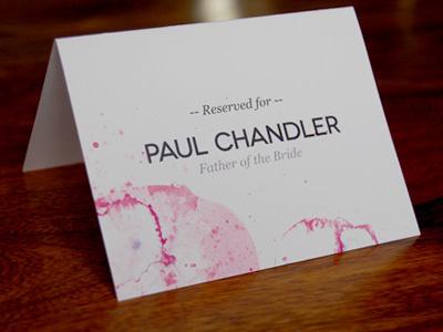 Reserved Seat Card branding wedding illustrator