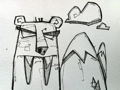 Sabre-bear Sketch illustration pen paper hand drawn
