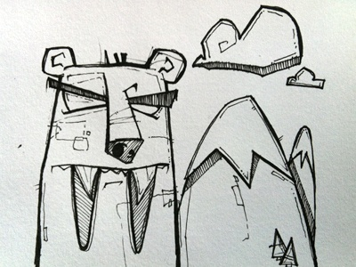 Sabre-bear Sketch illustration pen paper hand drawn