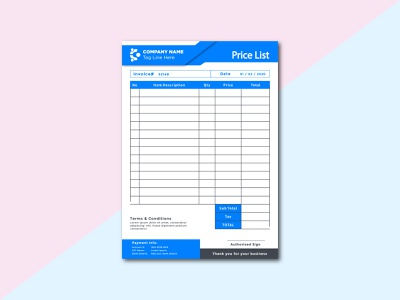 Invoice & letterhead Design rate list invoicing price list order form invoice sitt business card letterhead invoice vector illustration logo flyer t-shirt graphic design design branding banner