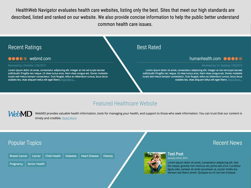 Health Website Ratings health medical listings ratings blue gray wordpress web design wip work in progress
