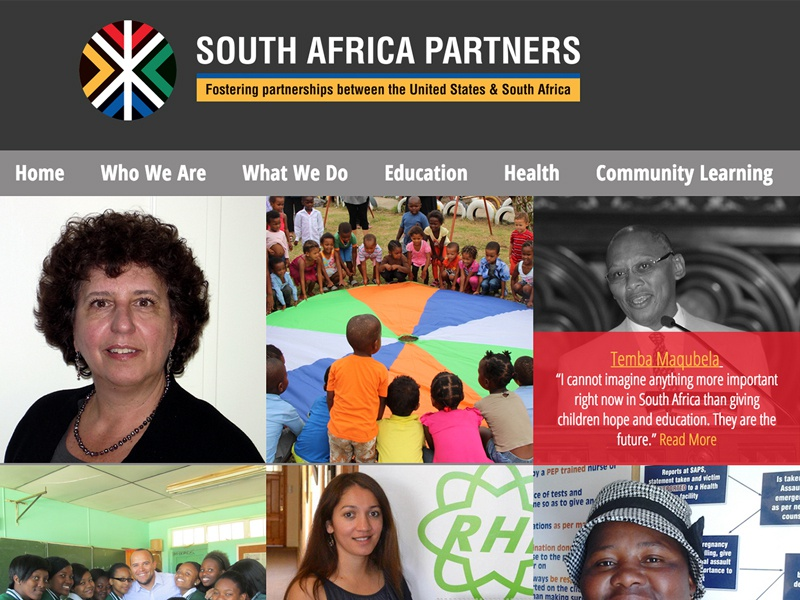 South Africa Partners Homepage south africa hover state wordpress non-profit healthcare education community