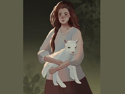 Girl with goat girl poster procreate flat ux ui art graphic design illustration