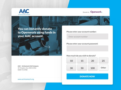 Donate with AAC form webdesign design interface tool donation ux ui