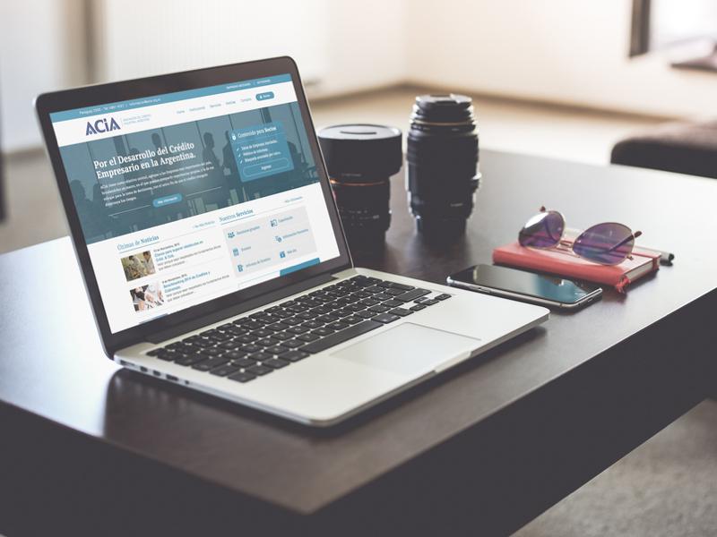 Acia website blue macbook notebook webdesign website home homepage mockup acia