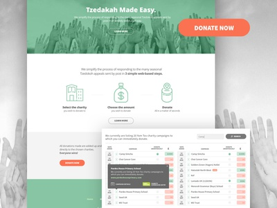 Donation tool landing page.