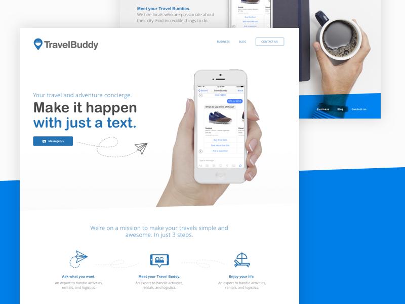 Startup Landing page website webdesign ux ui design buddy travel startup page landing