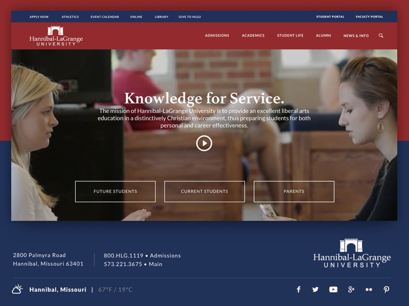 University Website hannibal missouri badge logo red blue ux ui design website college university