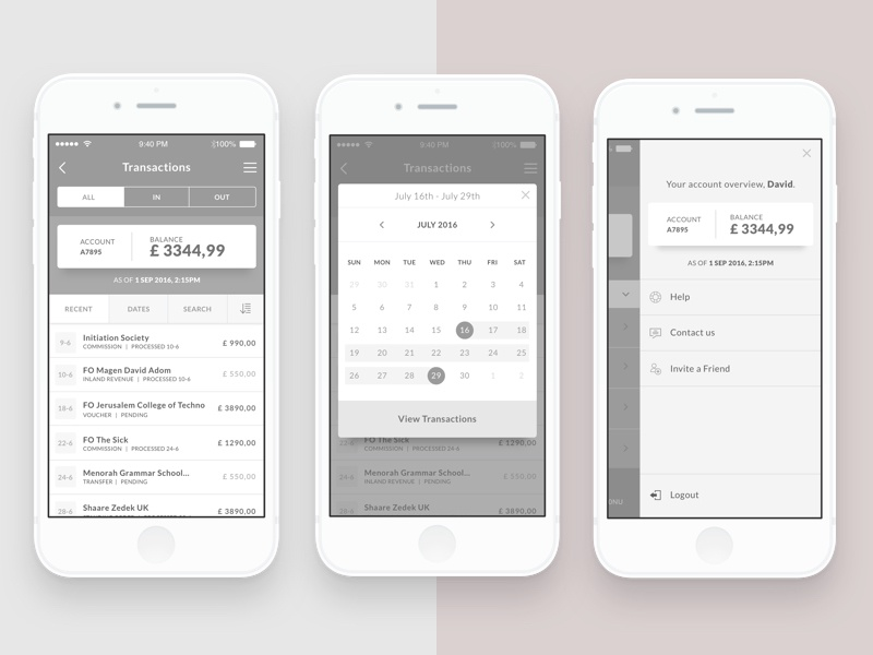 Banking App Wireframes design ui transactions sidebar calendar app money banking