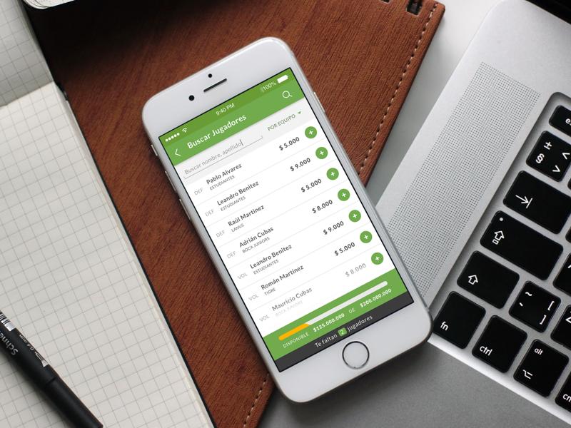Fantasy Fútbol - Find players screen mobile design ux ui iphone green team players futbol app