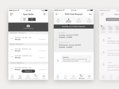App Schedule Wireframes design ux ui ios calendar schedule wireframes app