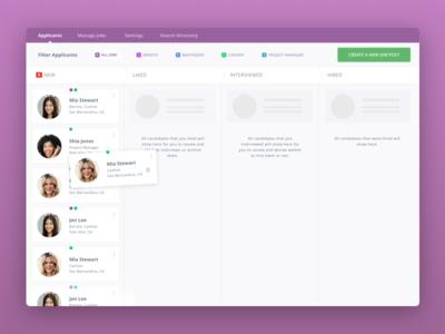 Hiring Feature desktop dashboard app people cards purple design ux ui jobs candidates hiring