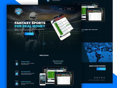 Fantasy Landing page football blue sports theme dark design ux ui landing