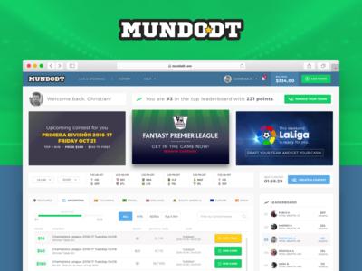 Fantasy league Dashboard app product website design ux ui soccer football league fantasy