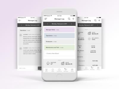 Manager log wireframes greys team studio agency design ux ui iphone concepts wireframes log manager