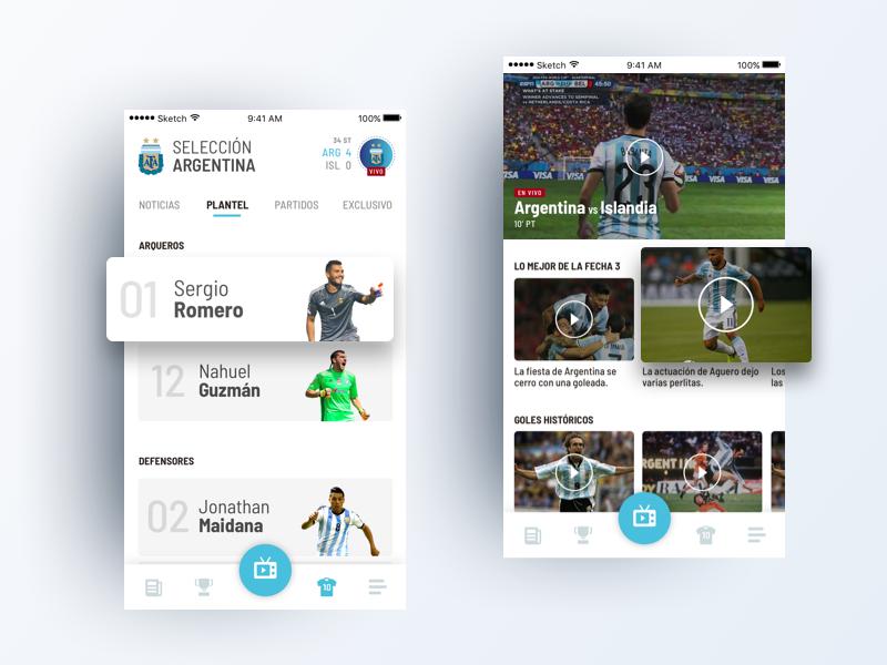 Selección Argentina player nav ux ui players team videos app futbol argentina seleccion afa