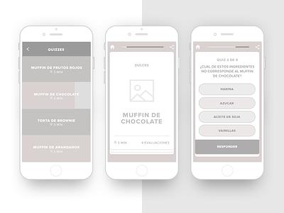 Evaluation app wireframes recipes mockups design ui ux iphone ios wireframes app quiz