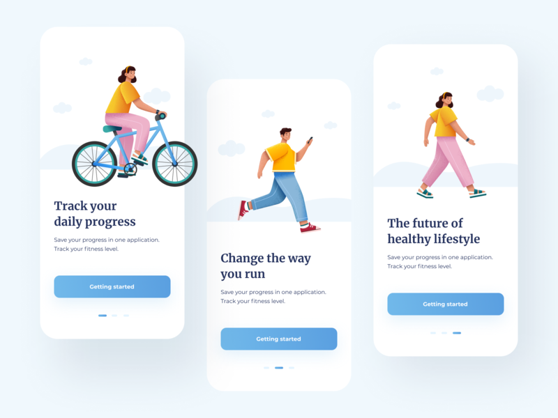 Onboarding - Fitness App design healthcare healthy walking ux ui running app design onboarding mobile illustration fitness figma bycicle app