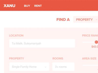 Real Estate site mock-up real estate search price range slider retina layer style diet