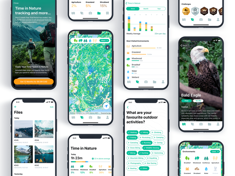Exploring Nature Environment application ui mobile trekking outdoor outdoors bar charts diagram chart filter photo list clean fitlers tags badges bar chart statistics environment nature maps app