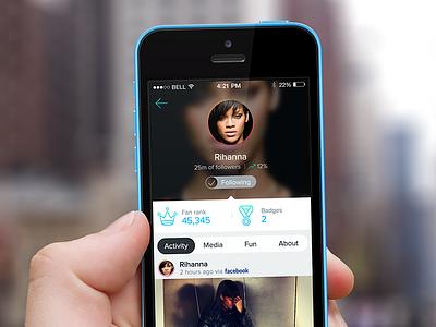 Celebrity Profile profile ui tabs segmented control flat fan celebrity mobile iphone ios app