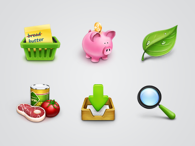 Icons Set icon icons set shop search leaf pantry piggy pig basket inbox magnifying