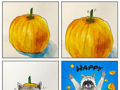 HartBandit comic art wholesome raccoon comic book comic illustration