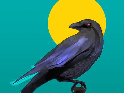 crow night flatdesign bird crow photoshop digital portrait digital painting digitalart illustration