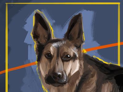German Shepherd german shepherd german doggo dog postrait photoshop digital portrait digitalart digital painting illustration