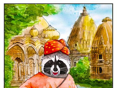 HartBandit 38 watercolor painting hartbandit selfie wanderlust jodhpur jaipur india travel raccoon comic art comic comics painting art watercolor
