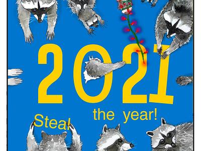 HartBandit Happy New Year! :) photoshop illustration digital painting watercolor drawing raccoons hny new year 2021 happy new year 2021 happy new year