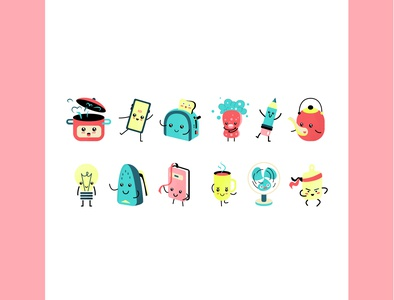 Series of small characters (home life) design cartoon. vector illustration environment technique everyday life flat simple series character kawaii cute small
