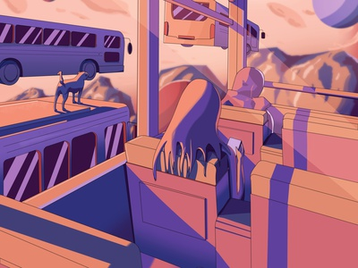 The Bus Ride outerspace planets purple pink orange environment concept art fictional aesthetic dog mountain digital art illustration bus ride