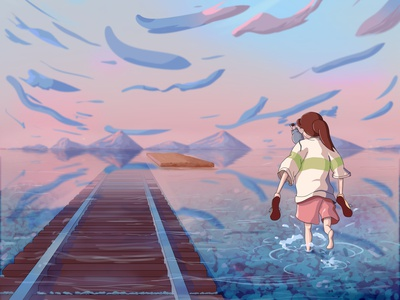 Chihiro from Spirited Away Fan Art cute anime cartoon painting reflections clouds environment concept art fictional train cotton candy blue pink studio ghibli ghibli haku chihiro spirited away spiritedaway illustration