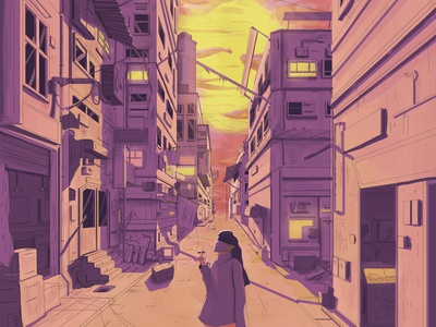 Sunset painting poster print digital drawing digital art perspective afternoon aesthetic sunset buildings structure detailed face mask face shield fiction cyberpunk illustration
