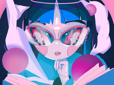 Immersed in a Great Story space outer space angel fairy stylized bookworm reading character anime cyberpunk pink environment concept art aesthetic illustration