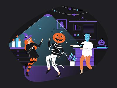 Halloween party office party halloween design minimal flat vector illustration