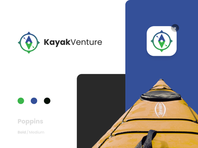 KayakVenture | Logo design kayak flat illustrator branding logodesign logotype logo graphicdesign graphic vector