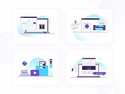 Illustrations set for Softvoya website minimal design flat illustrator graphicdesign illustraion vector art graphic softvoya
