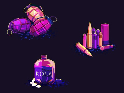 Icons violet ammunition mentos cola ammo grenade android ui illustration ios mobile game