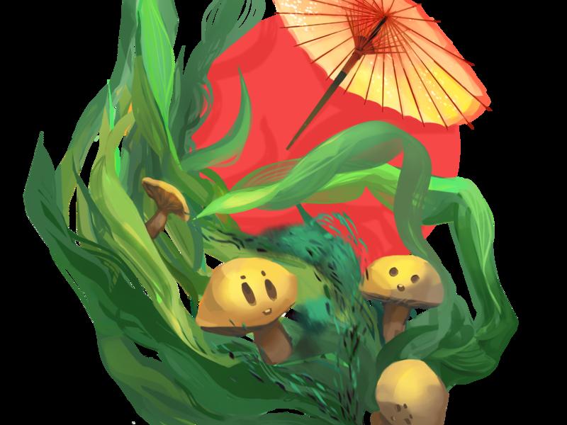 Seaweed illustartion for packaging vegan dynamic cartoony beverages seaweed japanese umbrella mushroom design illustration