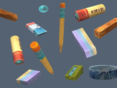 Hand-drawn textures hand drawn cartoony wood sharpener pin eraser battery pencil texture ios android mobile game