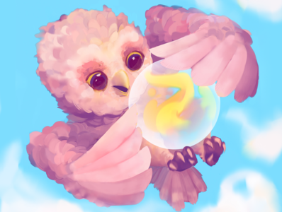 Tiny owly magic tiny wisard flying pink feather owl fireball magic mobile game illustration