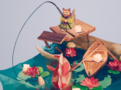 Fishing koi waterlily boat texture cat monk japanese koi fishing isometric art isometric illustration blender3d blender