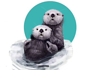 Otters animals river swim fur cute otters illustration