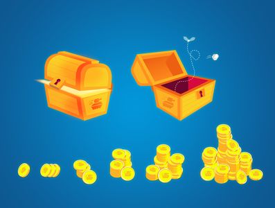 Loot chest gold coin loot screen ui mobile ios android game