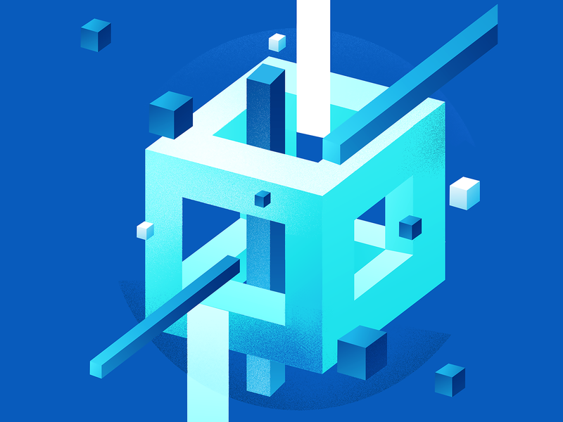 Illustration isometric cube geometrical geometric brand blue illustration
